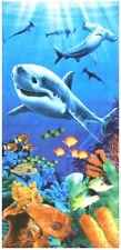 "30"" x 60"" Sharks Colorful Reef Velour Beach Towel"