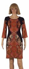 Ronni Nicole Size 4 Black Red Paisley Print 3/4 Sleeve Shift Dress NEW