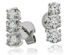 Diamond Drop Earrings Graduated 1.25ct Brilliant Cut in 18ct White Gold