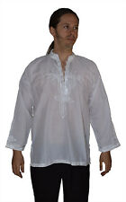 Moroccan Men Tunic Shirt Cafan Casual Handmade Embroidered Cotton X- Large White