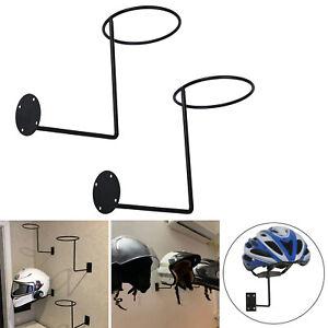 2pcs Wall Mount Motorcycle Helmet Display Holder Stand Hook Caps Rack Hanger