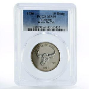 Vietnam 10 dong Natural Protection Water Buffalo MS69 PCGS CuNi coin 1986