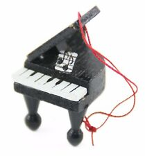 Black White Wood Classic Piano Christmas Ornament Holiday Decoration