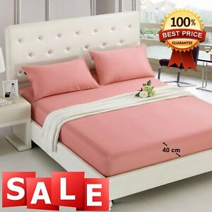 40cm Extra Deep Fitted Sheet Bed Sheets 100% Poly Cotton Single Double King Sup