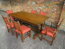 VINTAGE OLD CHARM STYLE ? SOLID WOOD DINING TABLE AND SIX UPHOLSTERED CHAIRS