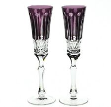2 Faberge Xenia Amethyst Purple Cut to Clear Crystal Champagne Wine Flutes New
