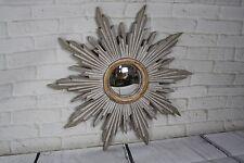 Glace / miroir soleil patiné taupe avec oeil de sorcière doré patiné