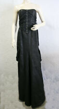 $$$$ BCBG RUNWAY BLACK (FVA65570) METALLIC STRAPLESS LONG GOWN DRESS NWT 10