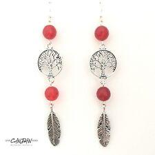 Red Ruby Boho Long Earrings Bohemian Hippie Gypsy Tree Life Angel Wing