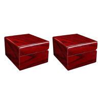 2Pcs Vintage Red Wood Watch Box Case Display Jewelry Storage Organizer Gift