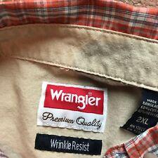 Wrangler Men's Size 2XL Wrinkle Resistant Plaid Snap Button Short Sleeve Shirt