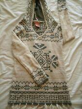 Flying Tomato Women's Aztec Sweater Fair Isle Hooded Fringe XS Extra Small