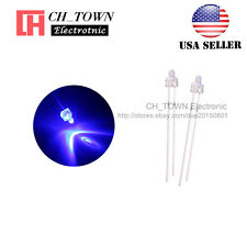 100pcs 2mm LED Diodes Water Clear Blue Light Round Top Transparent