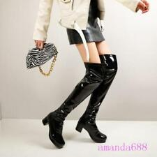 Women's Plus Size Winter Over the Knee Knight Boots Patent Leather Comfort Shoes