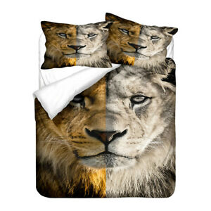 African Animal Lion Duvet Quilt Cover Set Single Double Queen King Holiday Gift