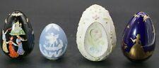 Franklin Mint Eggs, Blue White Parian Style, Ceramic Folk Fable, Bundle