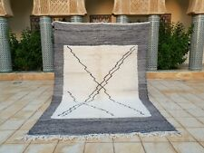 """Beni ourain Rug 9'10""""x6'7"""" Ft Moroccan Rug Handmade Authentic Wool Carpet"""