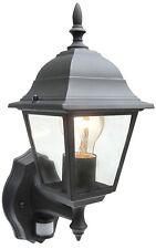 Schwarze Wandlaterne mit PIR Bewegungsmelder IP43 Außenlampe + LED 10w ES Lampe