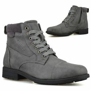 Mens Memory Foam Zip Up Military Combat Walking Work Ankle Biker Boots Shoe Size