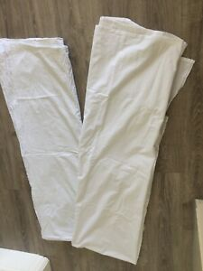 Two Single Bed Size White Cotton Flat Sheets In Very Good Condition