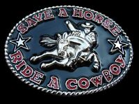 Save Horse Ride Cowboy Funny Rodeo Western Belt Buckle Buckles Boucles Ceintures