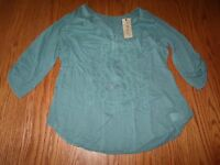 NWT WOMENS NINE WEST LARGO TEAL LAELIA 3/4 SLEEVE TOP SHIRT HENLEY S M L XL