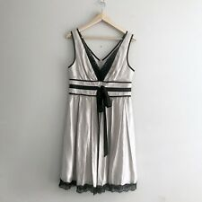 Review Womens Metallic Silver Dress Size 12 Black Lace Fit Flare Cocktail Party