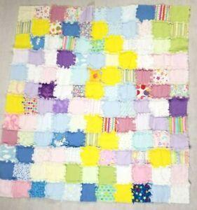 Handmade Baby Rag Quilt Blue Pink Flannel Shaggy Blanket 44x46 For Crib Stroller