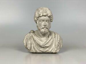 MARCUS AURELIUS Concrete Bust, Roman Emperor Statue, Stoic Philosophy Gift