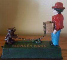 """VINTAGE Cast Iron Mechanical Monkey Bank """"Organ Grinder"""" Piggy Bank - WORKS"""