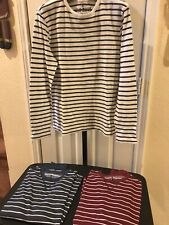 LOT OF 3 Men's Old Navy Long Sleeve Striped Crewneck Thermal Shirt Size Medium M