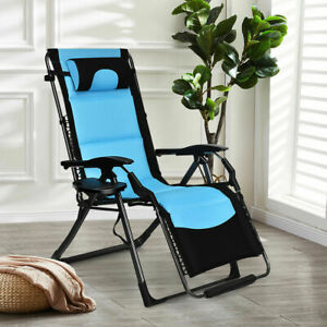 Outdoor Folding Padded Zero Gravity Lounge Chair Oversized Patio Recliner Chaise