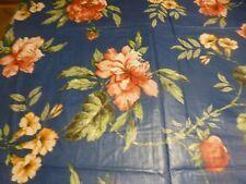 2m,10x1,38 beau tissus bleu  les roses a nciennes nappes = 2lots disponibles