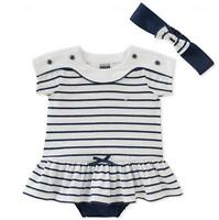 Nautica Infant Girls White & Navy Sunsuit W/Headband Size 3/6M 6/9M 12M 18M 24M