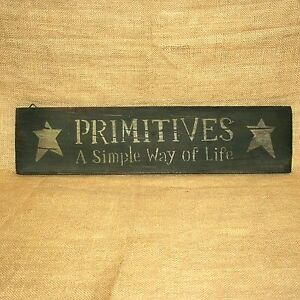 """Primitives A Simple Way Of Life Wood Sign Rustic Country Wall Decor 21"""""""