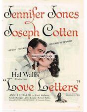 1945 Love Letters Jennifer Jones Joseph Cotten Vtg Movie Promo Print Ad
