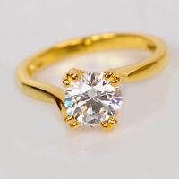2.00 Ct Round Cut Diamond 14K Yellow Gold Fn Solitaire Women's Anniversary Ring