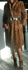 Excellent full length Hooded sable brown Mink Fur Coat Jacket stroller S 0-4/6