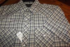 Nwt White Horse Men's S/S Snap Front Snap Shirt Size Medium Black/Tan Plaid