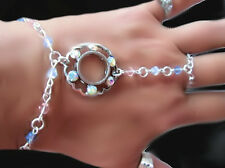 Hand designed USA SILVER Crystal Slave bracelet  Goergoeus one of a kind jewelry