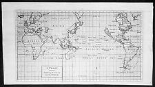 1745 Anson Original Antique World Map, America & Island of California, Australia
