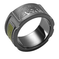 DIESEL STAINLESS STEEL BLACK AND GREEN ARMY RING DX0453  Sz. 9