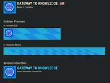 DESTINY 2 [GATEWAY TO KNOWLEDGE] EMBLEM CODE VERY RARE!!!! INSTANT DELIVERY!!!!!