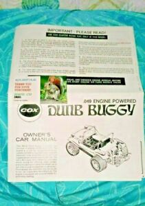 VINTAGE Cox DUNE BUGGY Model 049 Gas Engine POWERED OWNERS CAR MANUAL CLO$ING