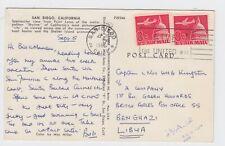 1965 San Diego Postcard to Green Howards British Army Benghazi Libya BFPO 55
