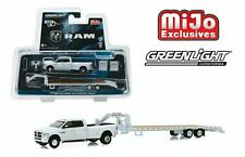 Greenlight 1/64 Dodge RAM 3500 & Gooseneck Trailer WHITE MIJO Hitch & Tow 51308