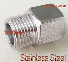 "1/16"" NPT Male To 1/8"" NPT Female Fuel Rail Adapter Fitting Gauge Water Oil L-5U"