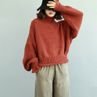 Women Turtleneck Pullover Knitted Sweater Loose Ethnic Leisure Winter Jumper New