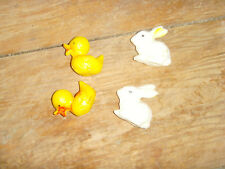 Very old vintage bunny rabbit and yellow duck duckling Easter decorations chic