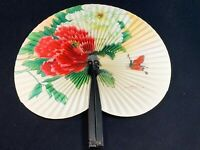 Vintage People Republic China Paper Hand Painted Fan Butterfly Peony White Red
